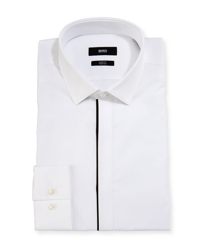 Jamis Slim-Fit Contrast-Trim Dress Shirt, White/Black