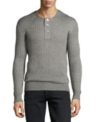Lightweight Cashmere-Silk Ribbed Henley Sweater, Light Gray