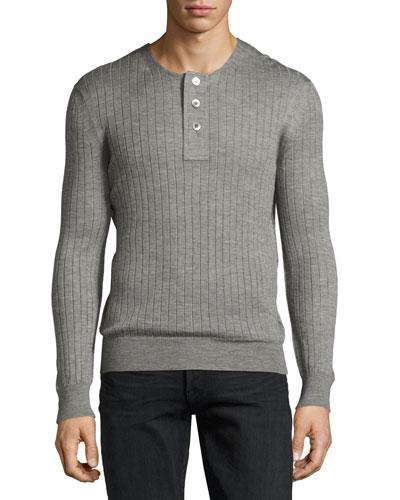 Lightweight Cashmere-Silk Ribbed Henley Sweater, Light Gray