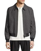 Zip-Front Wool Bomber Jacket, Gray