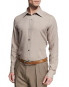 Linen Point-Collar Slim-Fit Shirt, Tan