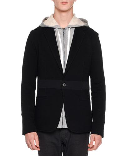 Mixed-Media Jersey Blazer, Black