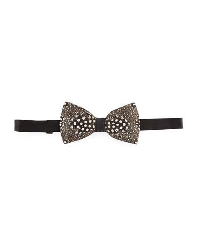 Feather Bow Tie, White/Black