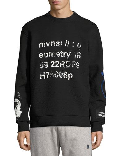 Geometry Distressed Sweatshirt, Black