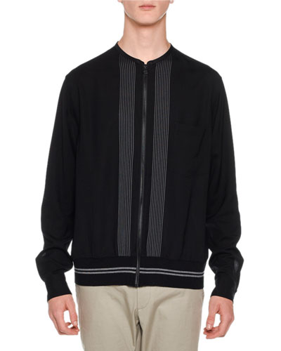 Embroidered-Stripe Shirt Jacket, Black