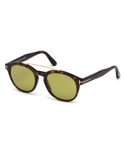 Newman Round Shiny Acetate Sunglasses, Dark Havana