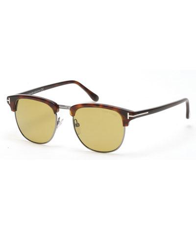 tom ford henry shiny half rim sunglasses havana in khaki. Black Bedroom Furniture Sets. Home Design Ideas