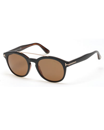 Newman Round Shiny Acetate Polarized Sunglasses, Black