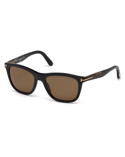 Andrew Square Shiny Acetate Polarized Sunglasses, Black