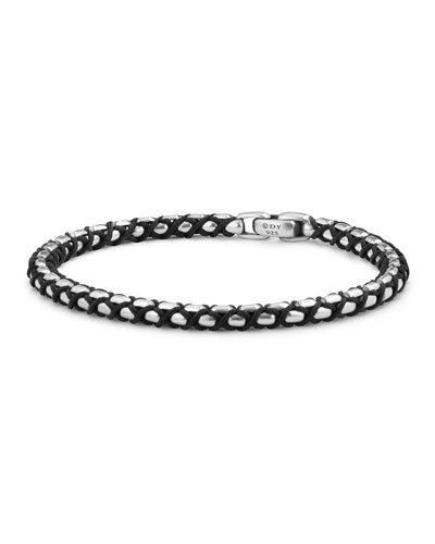 Men's 4.8mm Woven Box Chain Bracelet, Black