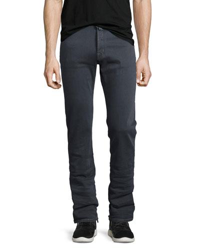 Straight-Leg Stretch-Denim Jeans, Gray