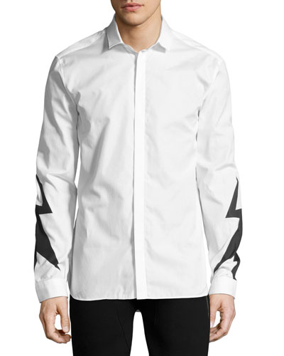 Lightning Bolt Print Shirt, White