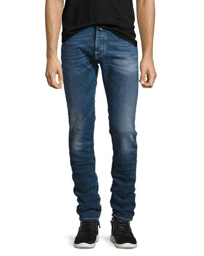 Medium-Wash Slim-Fit Stretch-Denim Jeans, Blue
