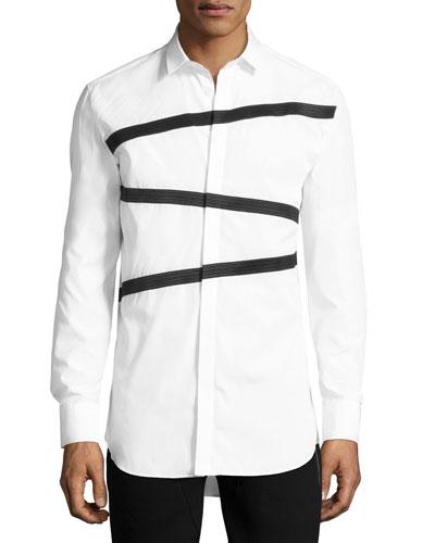 Triple Tape-Stripe Shirt, White
