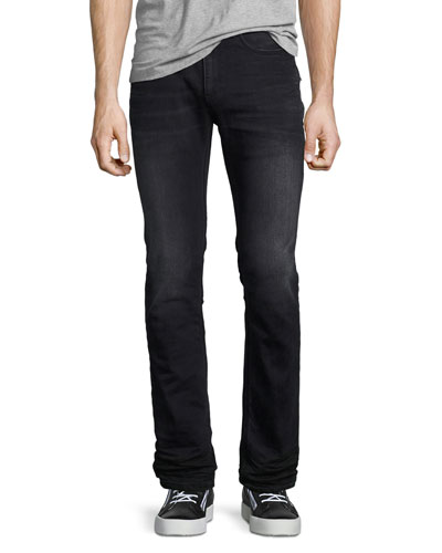 Basic Slim-Straight Denim Jeans, Gray Wash