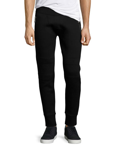 Neoprene Moto Jogger Pants, Black