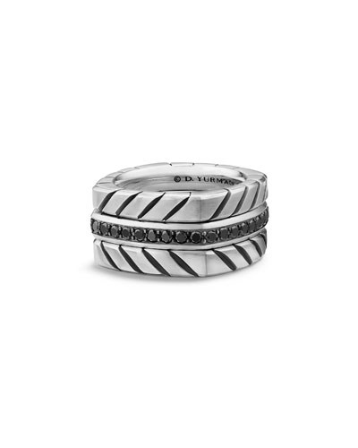 Men's 12.8mm Sterling Silver Chevron Stack Ring with Black Diamonds