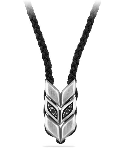 Men's Titanium & Sterling Silver Chevron Woven Necklace with Onyx