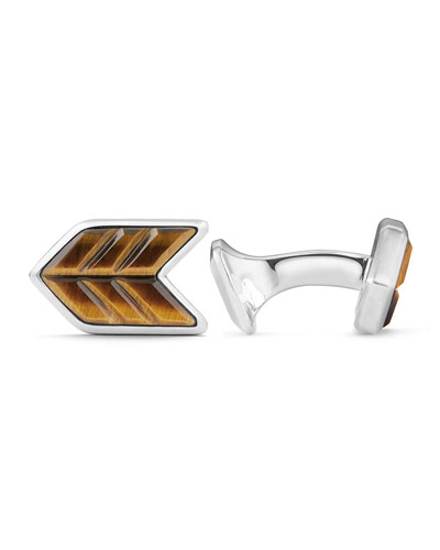 Tiger's Eye & Sterling Silver Chevron Cuff Links
