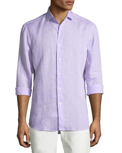Woven Linen Dress Shirt, Lavender