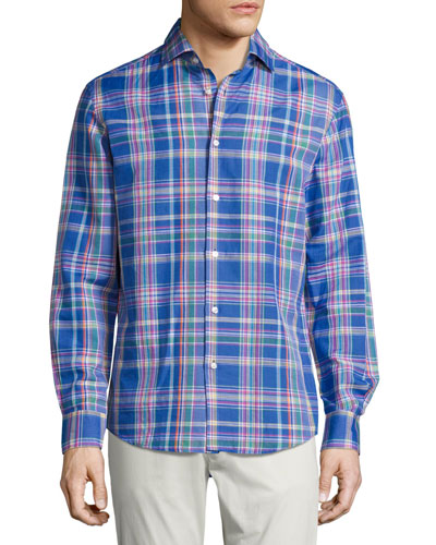 Plaid Woven Shirt, Bright Blue