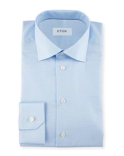 Contemporary-Fit Gingham Check Dress Shirt, Blue/ Green
