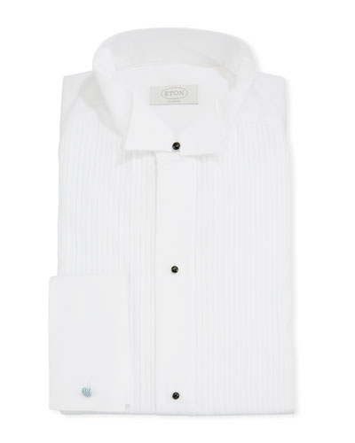 Men's Classic Pleated-Bib Stud Tuxedo Shirt
