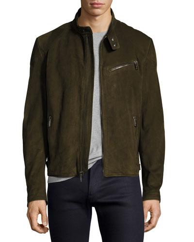 Suede Café Racer Jacket, Olive Green