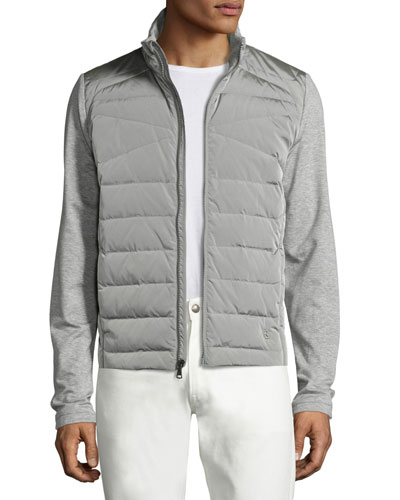 French Terry Full Hybrid Jacket, Light Gray