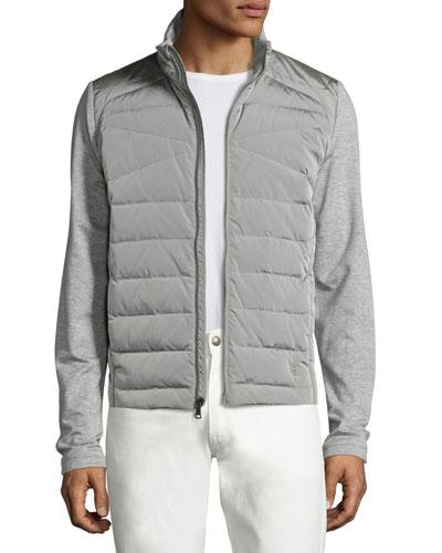 French Terry Full Hybrid Jacket, Light Gray