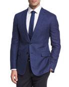 Herringbone Linen-Wool Sport Coat, Blue
