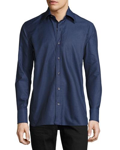 Twill Button-Down Shirt, Night