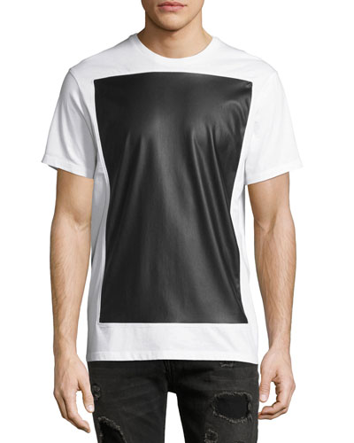 Leather-Effect Panel T-Shirt, White/Black