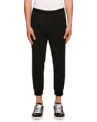 Stretch-Wool Jogger Pants, Black