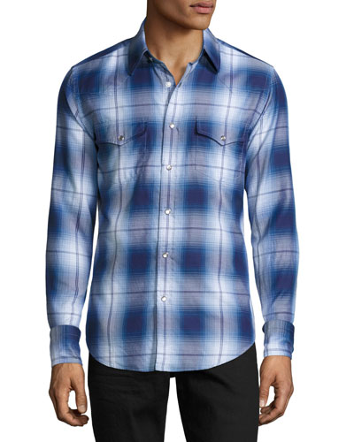 Plaid Western Cotton Shirt, Blue