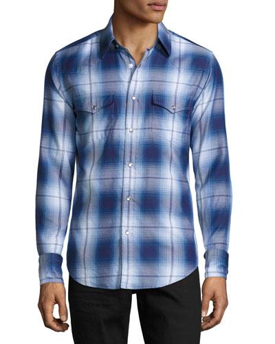 Plaid Western Cotton Shirt, Blue