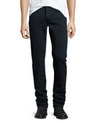 Straight-Fit Clean Wash Stretch Jeans, Dark Indigo