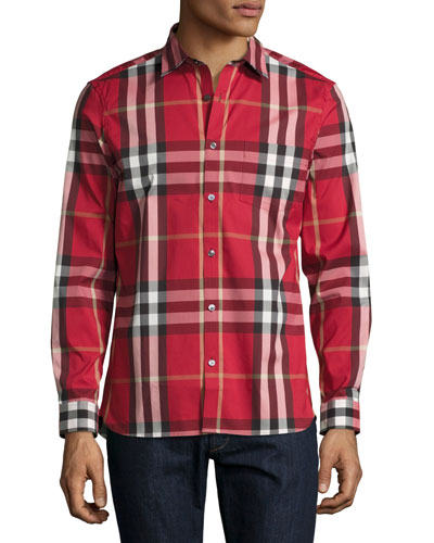 Nelson Check Stretch-Cotton Shirt, Parade Red