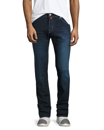Dark-Wash Straight-Leg Stretch-Denim Jeans with Red Stitching, Blue