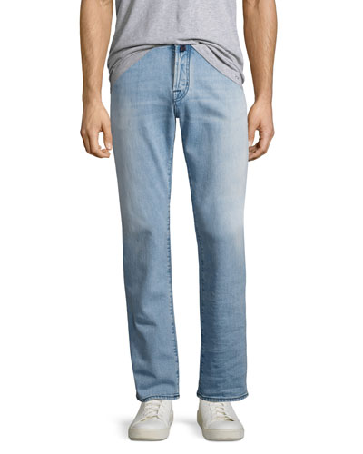 Light-Wash Straight-Leg Stretch-Denim Jeans with Orange Stitching, Light Blue