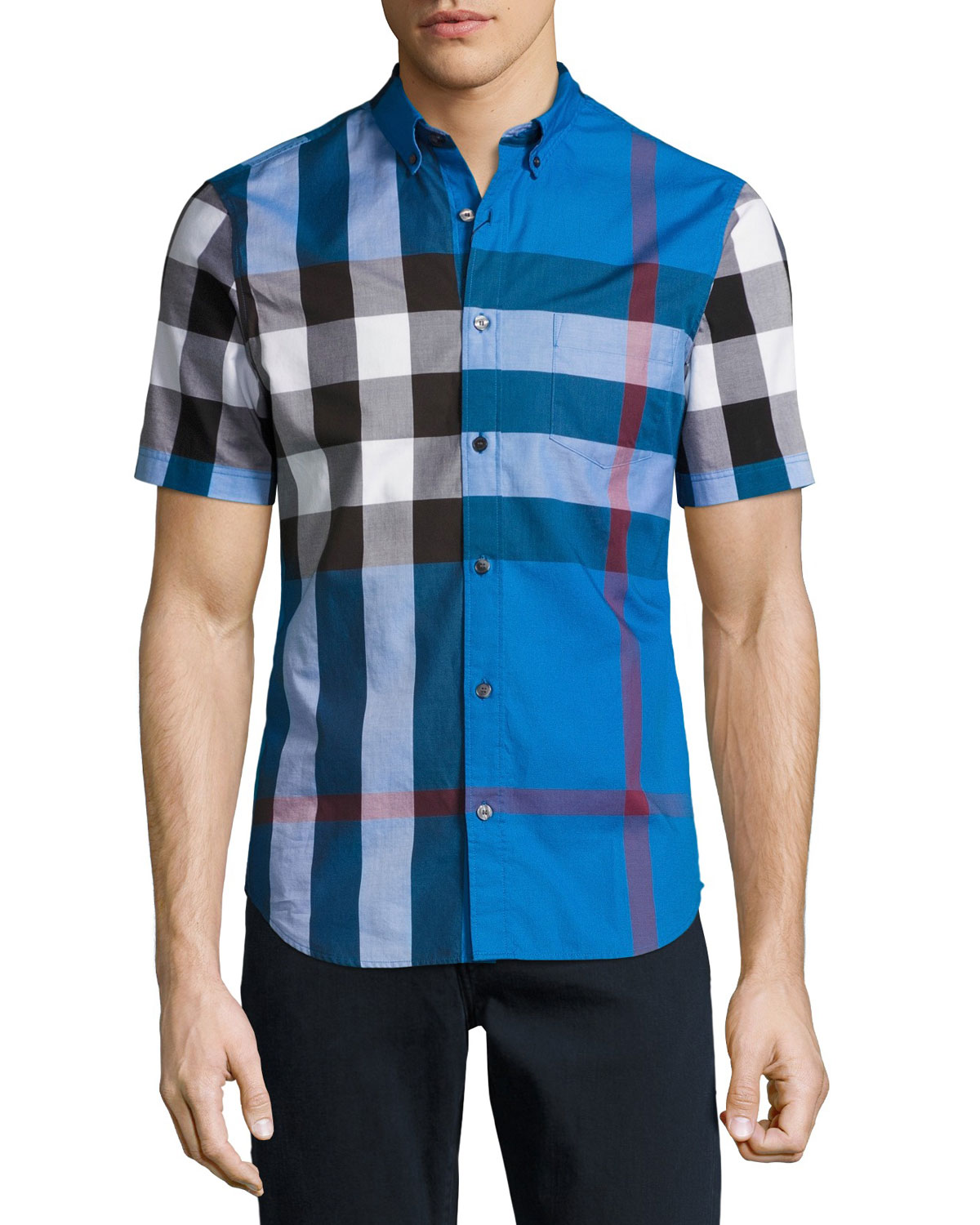 Fred Check Short-Sleeve Woven Shirt, Blue