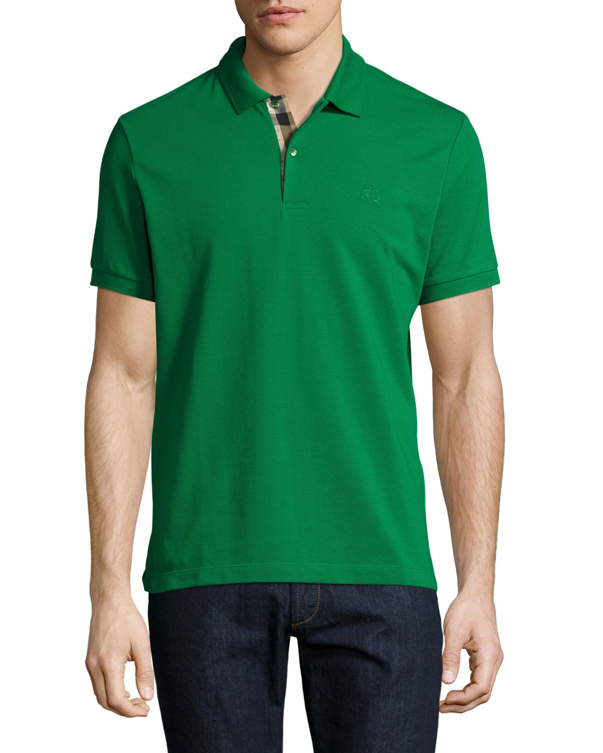 Short-Sleeve Oxford Polo Shirt, Green