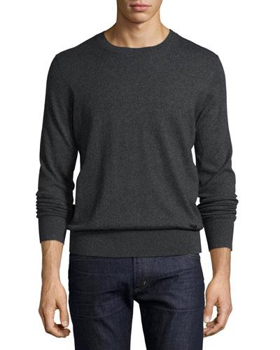 Kingston Cashmere-Cotton Sweater, Dark Gray