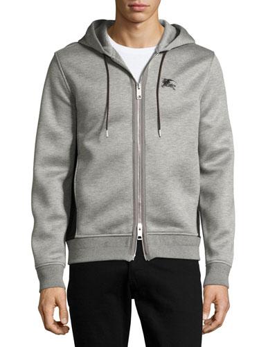 Dently Mesh-Panel Zip-Front Hoodie, Light Gray