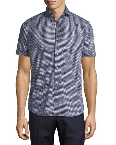 Geo-Print Sport Shirt, Navy