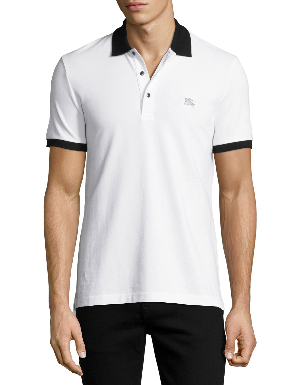 Camberwell Contrast-Trim Cotton Piqué Polo Shirt, Black/White