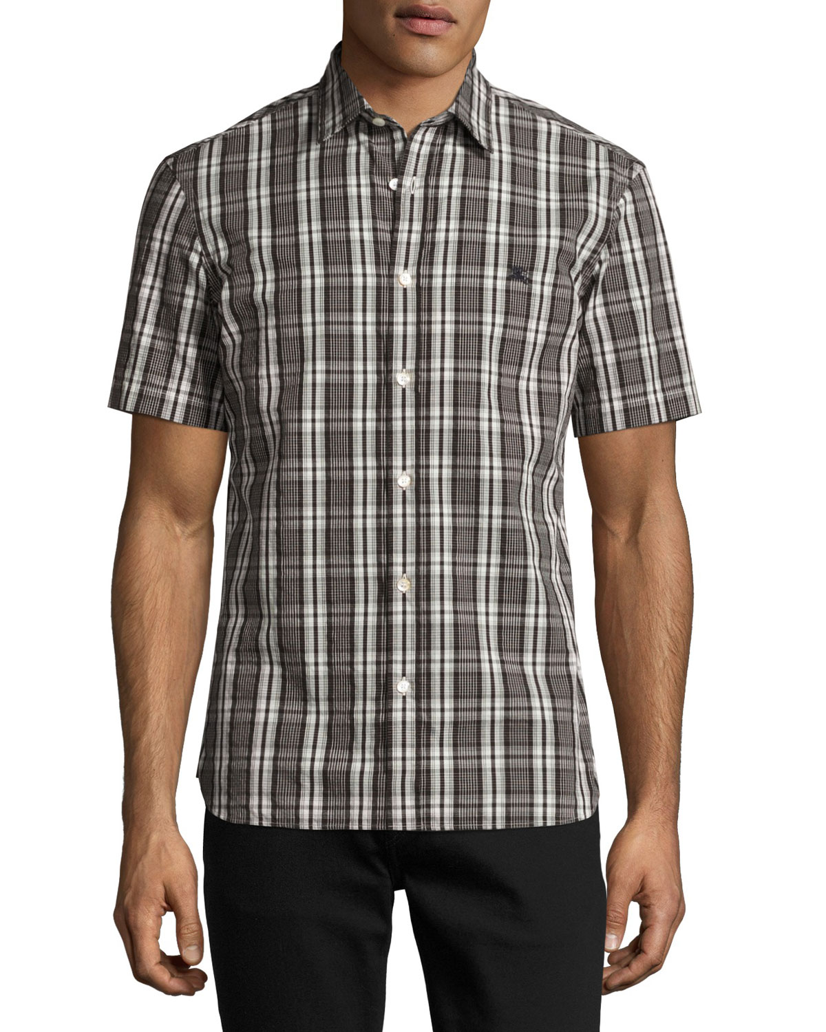 Heybridge Plaid Short-Sleeve Sport Shirt, Black