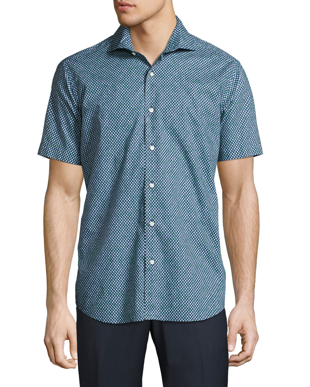 Geo-Print Short-Sleeve Sport Shirt, Green/Navy
