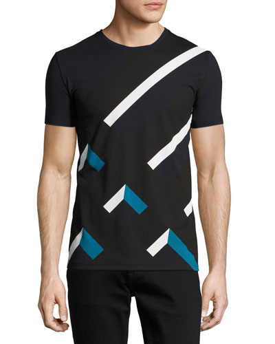 Wilmore Abstract Check Jersey T-Shirt, Navy