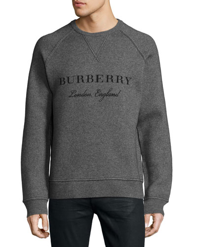 Belsford Wool-Cashmere Logo Sweatshirt, Gray